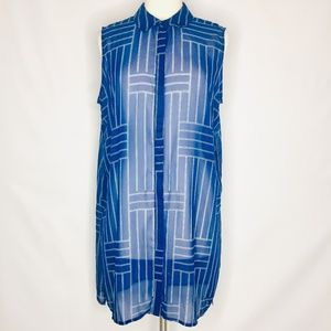 Como Black blue sheer sleeveless blouse XL